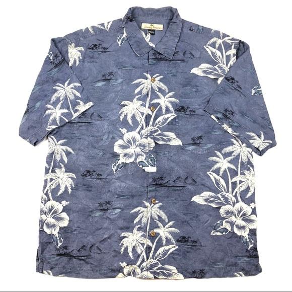 Tommy Bahama Silk Camp Shirt Chocolate Brown Big Palm aloha hawaii xl relax